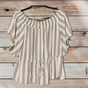 Abercrombie & Fitch Off The Shoulder Striped Top-S